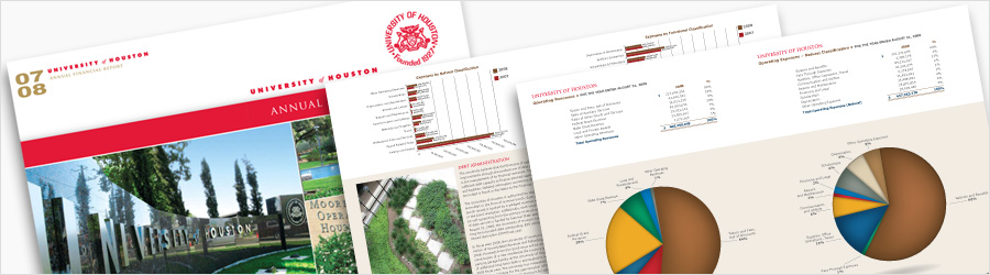 University of Houston Annual Report - Layout and chart branding for...